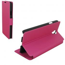 Etui type portefeuille pour Samsung Galaxy S6 Rose Fushia