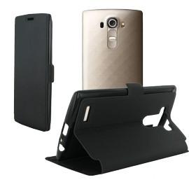 Etui portefeuille noir toucher cuir pour LG G4