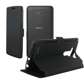Etui portefeuille noir toucher cuir pour Sony Xperia E4g