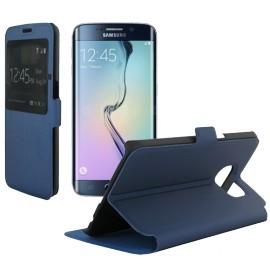 Etui portefeuille bleu nuit toucher cuir pour Samsung Galaxy S6 Edge