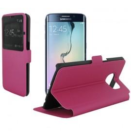 Etui portefeuille fuschia pour Samsung Galaxy S6 Edge