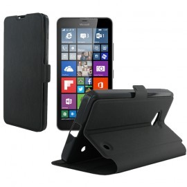 Etui portefeuille noir toucher cuir pour Microsoft Lumia 640