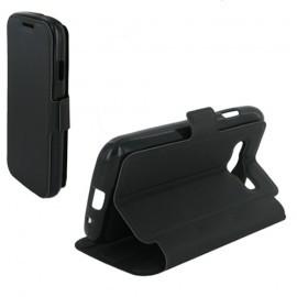 Etui portefeuille noir toucher cuir pour Samsung Galaxy Trend 2 Lite
