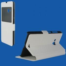 Etui portefeuille blanc avec fenêtre pour Microsoft Lumia 540