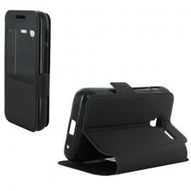 Etui portefeuille noir avec fenêtre pour Alcatel Pixi 3 3.5