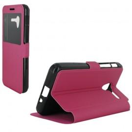 Etui portefeuille fushia avec fenêtre pour Alcatel Idol 3 (5 pouces)