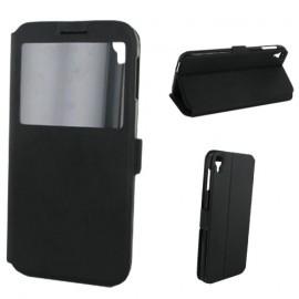 Etui portefeuille noir avec fenêtre pour Alcatel Idol 3 5.5 pouces