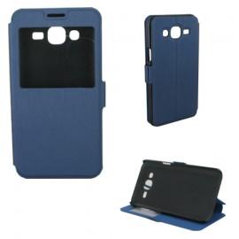 Etui housse portefeuille avec fenêtre pour Samsung Galay J5 bleu nuit