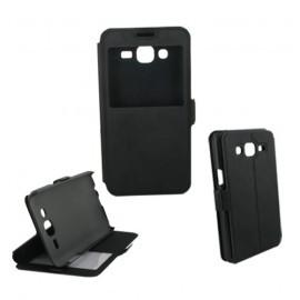 Etui housse portefeuille avec fenêtre pour Samsung Galaxy J5 noir