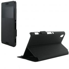 Etui housse portefeuille avec fenêtre noir pour Sony Xperia M4 Aqua