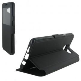 Etui housse portefeuille noir avec fenêtre pour Samsung Galaxy A7