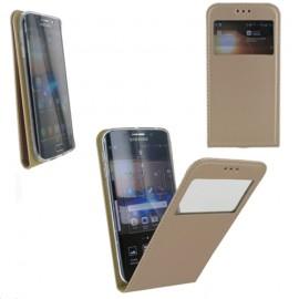Housse à rabat vertical avec fenêtre pour Samsung Galaxy S6 Edge Or