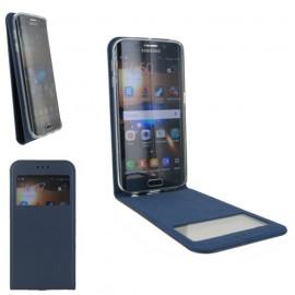Housse à rabat vertical avec fenêtre pour Samsung Galaxy S6 bleu nuit
