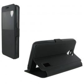 Etui housse portefeuille noir avec fenêtre pour Huawei Y635