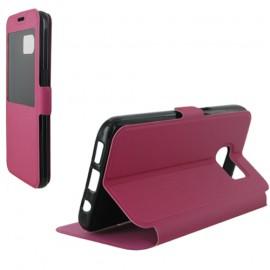 Etui housse portefeuille rose avec fenêtre pour Samsung Galaxy S7