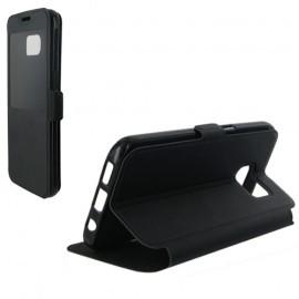 Etui housse portefeuille noir avec fenêtre pour Samsung Galaxy S7