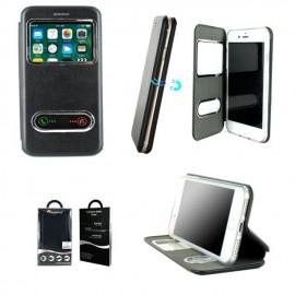 Etui portefeuille iPhone 7 noir avec fenêtre