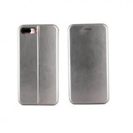 Etui portefeuille iPhone 7 Plus gris argenté