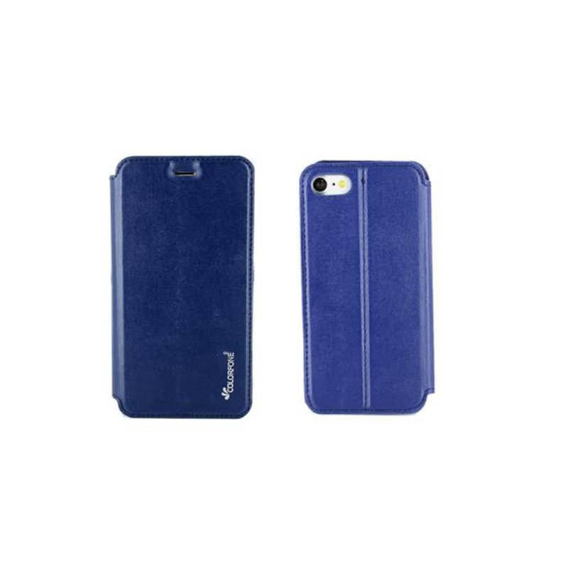 etui portefeuille iphone 7 bleu nuit a fermeture aimantee