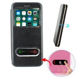Etui portefeuille Noir avec fenêtre pour iPhone 7 Plus