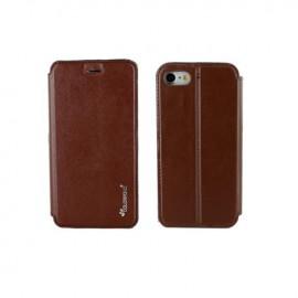 Etui portefeuille iPhone 7 Plus marron à fermeture aimantée