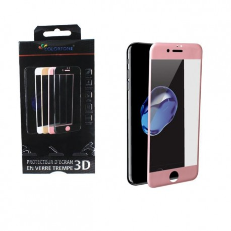 Protection verre trempé complète rose iPhone 7