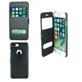 Etui portefeuille Noir avec fenêtre pour iPhone 8 Plus