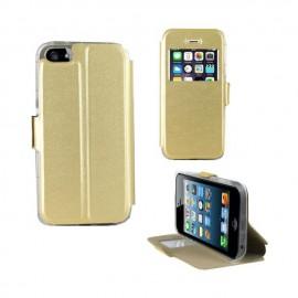 Etui portefeuille iPhone SE noir avec fenêtre