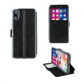Etui portefeuille Noir avec fenêtre pour iPhone X