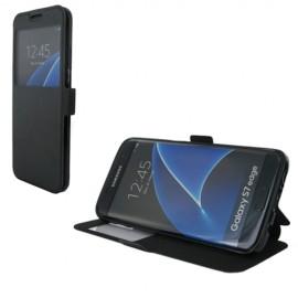 Etui portefeuille Noir avec fenêtre pour Samsung Galaxy S7 Edge