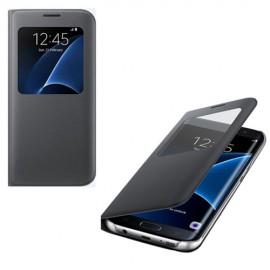 Etui Folio Noir Origine S-View pour Samsung Galaxy S7 Edge