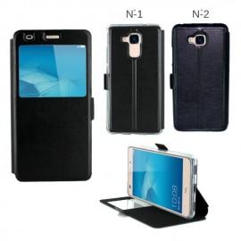 Etui portefeuille Noir avec fenêtre pour Huawei Honor 5C