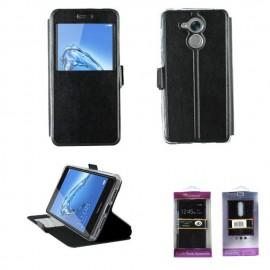 Etui portefeuille Noir avec fenêtre pour Huawei Honor 6C