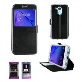 Etui portefeuille Noir avec fenêtre pour Huawei Honor 6A