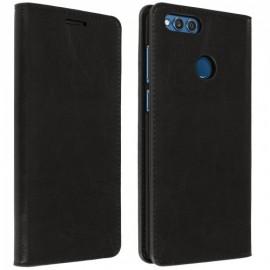 Etui portefeuille Noir avec fenêtre pour Huawei Honor 7X