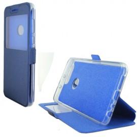 Etui portefeuille bleu nuit avec fenêtre pour Huawei Honor 8