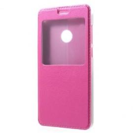 Etui portefeuille rose fushia avec fenêtre pour Huawei P8 Lite