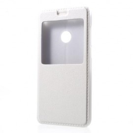 Etui portefeuille blanc avec fenêtre pour Huawei P8