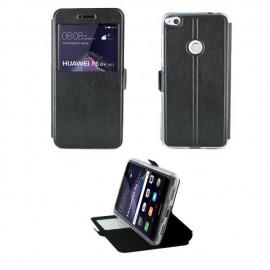 Etui portefeuille Noir avec fenêtre pour Huawei P8 Lite