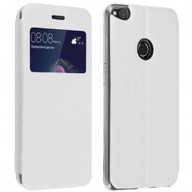 Etui portefeuille Blanc avec fenêtre pour Huawei P8 Lite