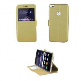 Etui portefeuille Or avec fenêtre pour Huawei P8 Lite