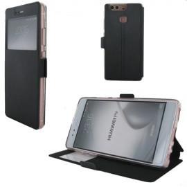 Etui portefeuille Noir avec fenêtre pour Huawei P9