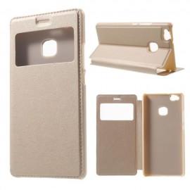 Etui portefeuille Or avec fenêtre pour Huawei P9