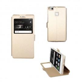 Etui portefeuille Or avec fenêtre pour Huawei P9 Lite