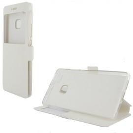Etui portefeuille Blanc avec fenêtre pour Huawei P9 Lite