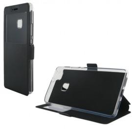 Etui portefeuille Noir avec fenêtre pour Huawei P9 Lite