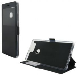 Etui portefeuille Noir avec fenêtre pour Huawei P9 Plus