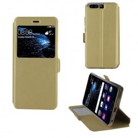 Etui portefeuille Or avec fenêtre pour Huawei P10