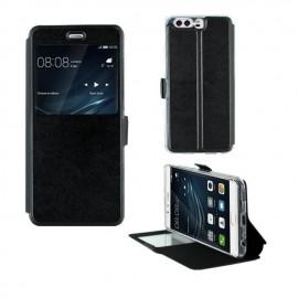 Etui portefeuille Noir avec fenêtre pour Huawei P10