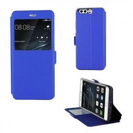 Etui portefeuille Bleu Roi avec fenêtre pour Huawei P10